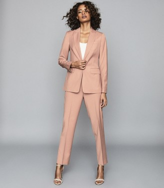Reiss Anya - Wool-blend Straight Leg Trousers in Pink