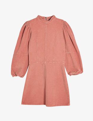Topshop Puffed-sleeve corduroy mini dress