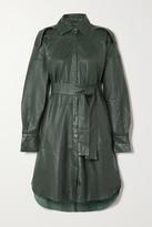 REMAIN Birger Christensen Lavare Belted Leather Shirt Dress - Dark green