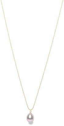 Ora Pearls Grey Pearl Drop Pendant Gold Chain