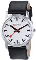 Mondaine Unisex Quartz Watch with Black Dial Analogue Display and Black Leather Strap A400.30351.14SBB