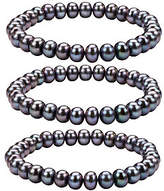 Honora Cultured Pearl Set of 3 7.0mm - 8.0mm St retch Bracelet