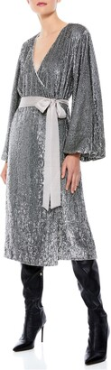 Alice + Olivia Anne Sequin Long Sleeve Wrap Dress
