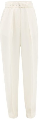 J.W.Anderson Belted High-rise Wool Tapered Trousers - Cream