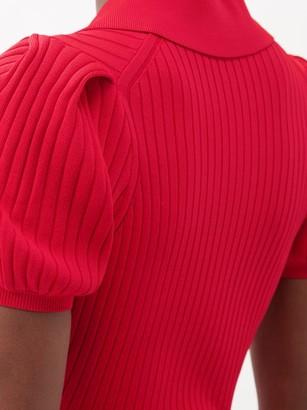 Self-Portrait Puff-sleeve Rib-knit Polo Mini Dress - Red