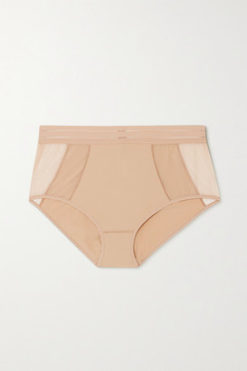 Maison Lejaby Nufit Stretch-jersey And Tulle Briefs - Beige