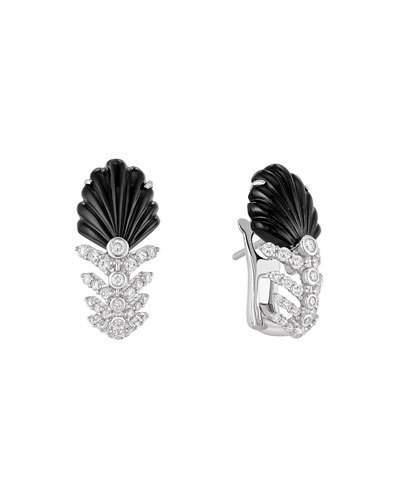 Lalique 18K White Gold Lys Diamond & Onyx Earrings