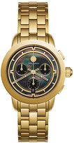 Tory Burch The Tory Classic Chronograph Watch, Black/Golden