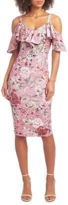 Rachel Roy Floral-Print Cold-Shoulder Sheath Dress