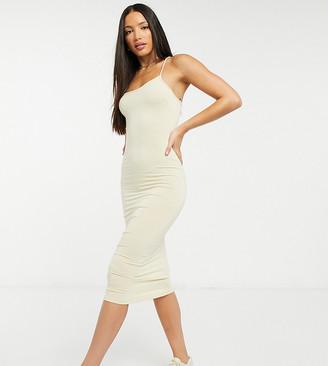 Asos Tall ASOS DESIGN Tall going out minimal asymmetric strap cami bodycon midi dress in stone