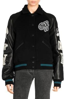 Off-White Vintage-Style College Varsity Jacket