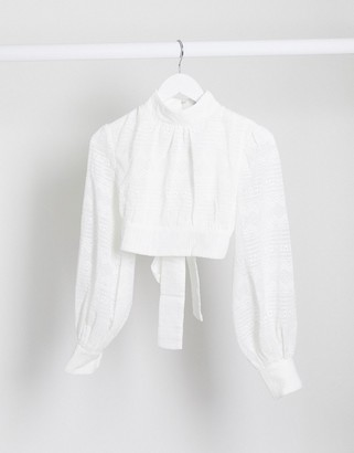 Rare London high neck tie back crop top two-piece in white