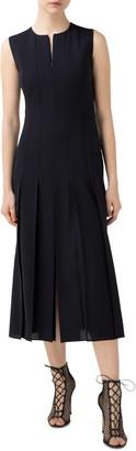Akris Pleated Wool Blend Midi Dress