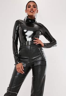 Missguided Black High Shine Vinyl High Neck Bodysuit