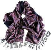 Black Omodeo Cashmere and Silk Satin Double Faced Scarf