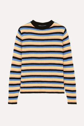 The Elder Statesman Striped Cashmere Sweater - Black