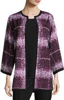 Misook Printed 3/4-Sleeve Jacket, Purple