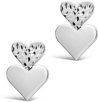 Sterling Forever Rhodium Plated Hammered Double Heart Stud Earrings