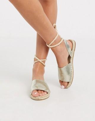 ASOS DESIGN June rope tie espadrilles sandals in gold