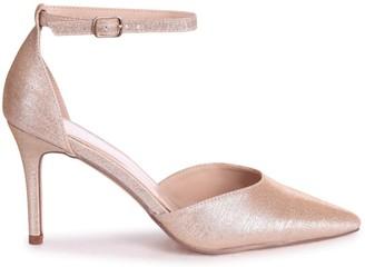 Linzi MACI - Champagne Glitter Fabric Stiletto Court Heel With Ankle Strap