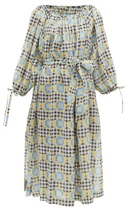 Innika Choo Frida Wailes Gingham And Floral-print Ramie Dress - Multi