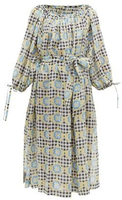 Innika Choo Frida Wailes Gingham And Floral-print Ramie Dress - Womens - Multi
