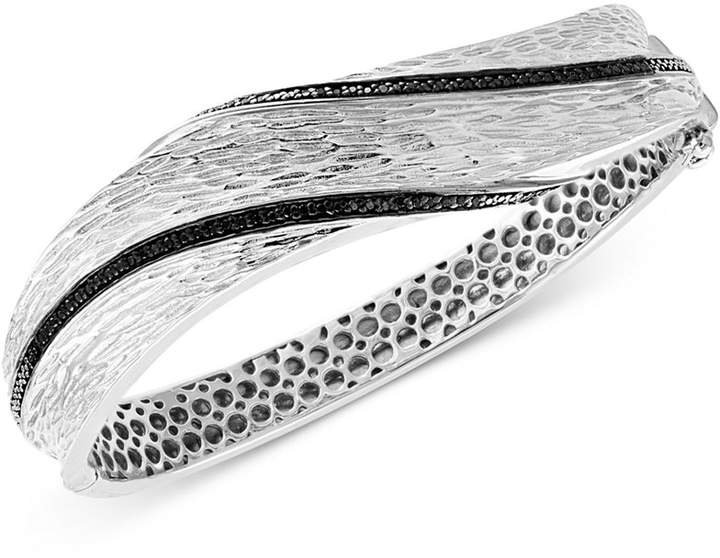 Effy Diamond Textured Bangle Bracelet (3/8 ct. t.w.) in Sterling Silver