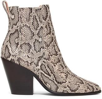 Loeffler Randall Kali Western Snakeskin-Embossed Leather Ankle Boots