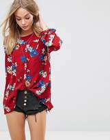 Glamorous Relaxed Smock Top In Bold Floral