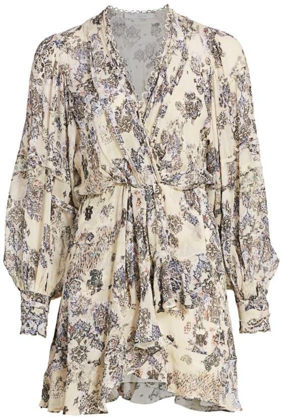 IRO Patchak Ruffled Tapestry Print Mini Dress