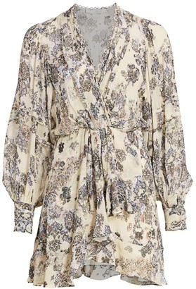 IRO Patchak Ruffled Tapestry Print Mini Dress