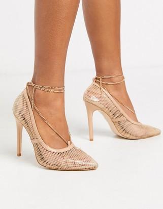 Public Desire Amara stilleto mesh court shoe with anklet detail