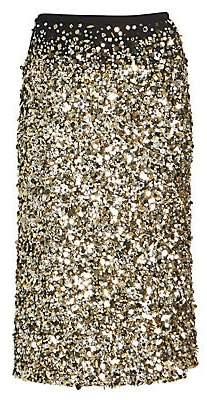 Dries Van Noten Women's Sequin Silk Midi Pencil Skirt