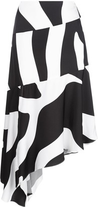 Milly Asymmetric Zebra Print Skirt