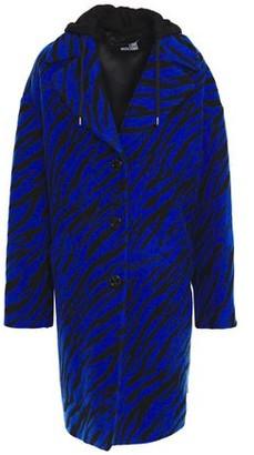 Love Moschino French Terry-paneled Wool-blend Zebra-jacquard Hooded Coat