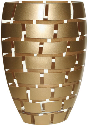 Badash Crystal Gold Wall Design 12In Crystal Vase