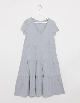 Noisy May tiered maxi smock dress in grey