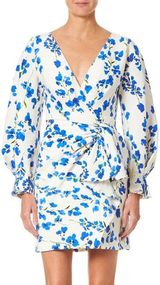 Carolina Herrera Puff-Sleeve Side Bow Floral Mini Dress
