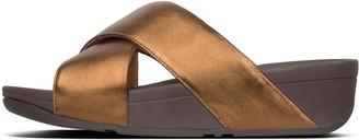 FitFlop Lulu Metallic Leather Cross Slides
