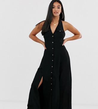 Asos DESIGN Petite button through halter neck maxi dress-Black