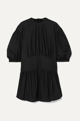 Simone Rocha Pintucked Cotton-poplin Mini Dress - Black