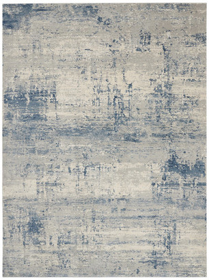 """Nourison Rustic Textures Contemporary Area Rug, Ivory/Blue, 9'3""""x12'9"""""""
