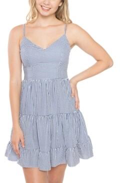 B. Darlin Juniors' Bow-Back Seersucker Dress