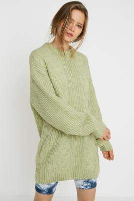 Urban Outfitters Green Cable Knit Mini Dress - green XS at