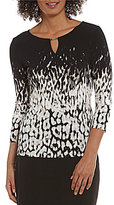 Calvin Klein Ombre Animal Printed Matte Jersey Keyhole Neck Top