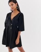 Asos Design DESIGN v front v back casual smock mini dress with buttons