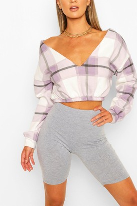 boohoo Check V Neck Crop Sweat