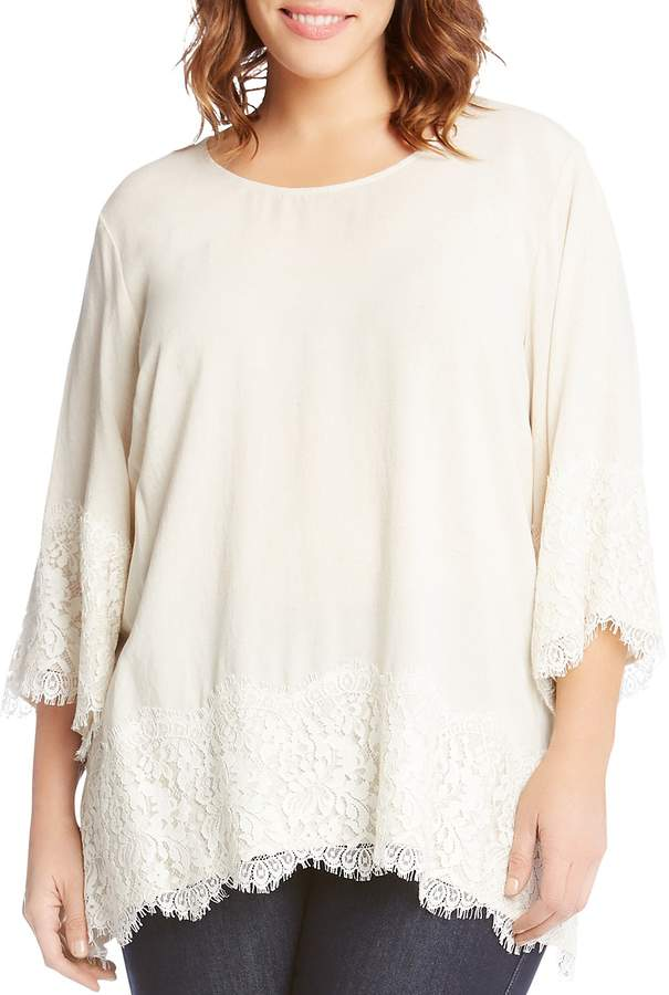 Karen Kane Plus Lace-Trim Top