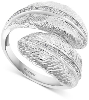 Effy Diamond Feather Bypass Ring (1/10 ct. t.w.) in Sterling Silver