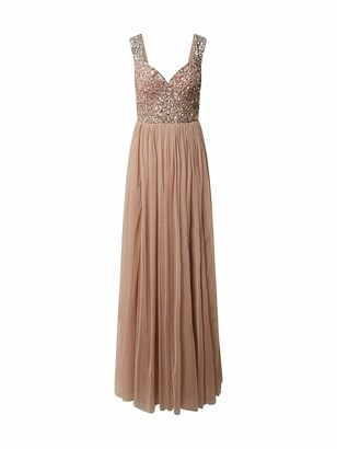 Maya Deluxe Women's Maya Taupe Blush Wide Strap Embellished Maxi Dress Bridesmaid 14